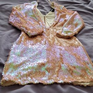 Nasty Gal sequin pink iridescent mini dress